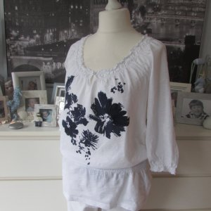 Esprit * Süßes Tunika-Shirt * weiß-dunkelblau Blumen * XL=42/44