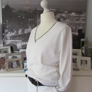 Esprit * %Summer SALE% Basic V-Pullover * weiß-hellgrau * XXL=42/44