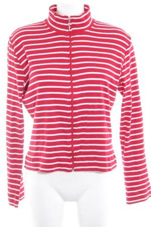 Esprit Sweatjacke rot-weiß Streifenmuster Casual-Look