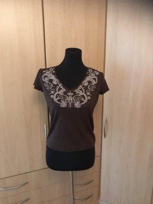 Esprit T-shirt col en V brun coton