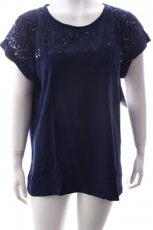 Esprit T-Shirt dunkelblau Materialmix-Look