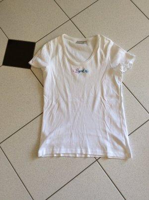Esprit T-Shirt Gr. L weiss mit Schriftzug und Glitzer