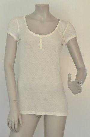 Esprit T-Shirt mit Lochmuster Viskose off-white creme Gr. L sehr guter Zustand