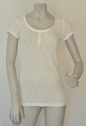 Esprit T-Shirt mit Lochmuster Viskose offwhite creme Gr M UNGETRAGEN mit Etikett