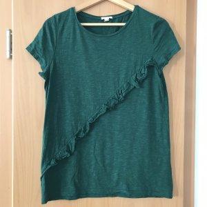 Esprit T-Shirt mit Rüsche dunkelgrün Gr M
