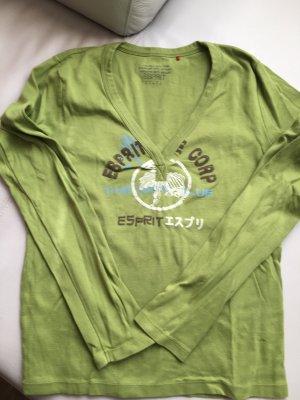 ESPRIT T-Shirt mit V-Ausschnitt, grün, mit Print, Gr. XL, wie NEU