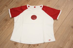 Esprit T-Shirt Rundhalsausschnitt / Rot-Weiß / Gr. XL getragen als 40
