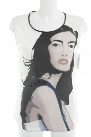 Esprit T-Shirt schwarz-creme Motivdruck Casual-Look