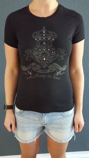Esprit T-shirt schwarz Krone Strass Gr L