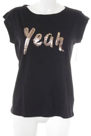 Esprit T-Shirt schwarz Schriftzug gedruckt Glitzer-Optik