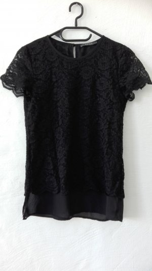 Esprit T-Shirt schwarz Spitze Tunika Bluse XS 34 32 XXS