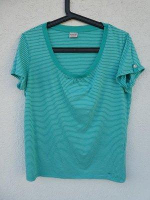 Esprit – T-Shirt, türkis mit feinen weißen Streifen – Gebraucht, fast wie neu
