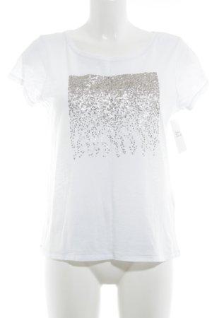 Esprit T-Shirt weiß Glitzer-Optik