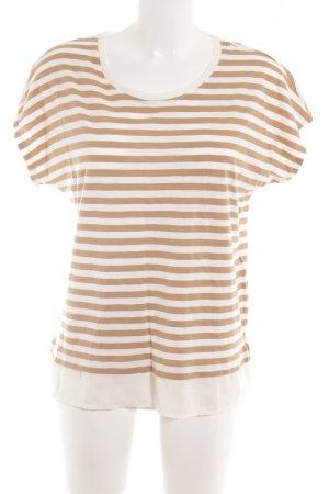 Esprit T-Shirt wollweiß-beige Streifenmuster schlichter Stil