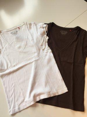 Esprit T-Shirts weiß und dunkelbraun