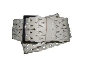Esprit Taillengürtel Gürtel breit geflochten Leder Echtleder weiß one size neu