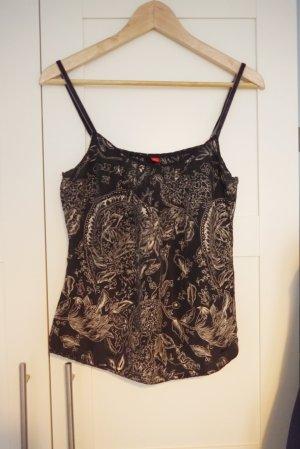Esprit Top Seide Paisley-Muster schwarz creme S NEU