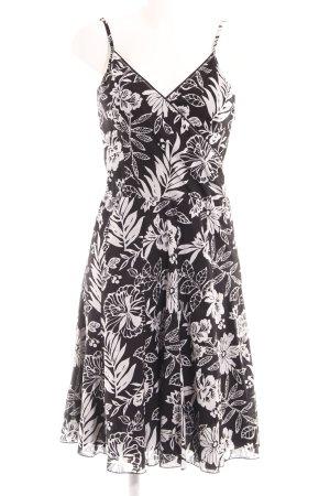 Esprit Trägerkleid schwarz-weiß florales Muster Elegant