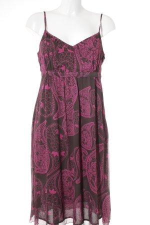 Esprit Trägerkleid schwarzbraun-himbeerrot florales Muster Casual-Look