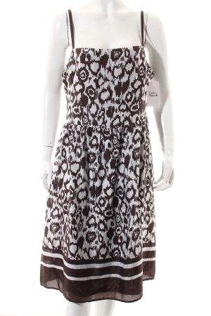 Esprit Trägerkleid wollweiß-braun abstraktes Muster extravaganter Stil