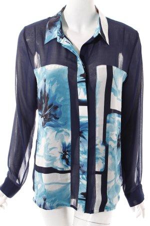 Esprit Transparenz-Bluse dunkelblau abstrakter Druck Casual-Look