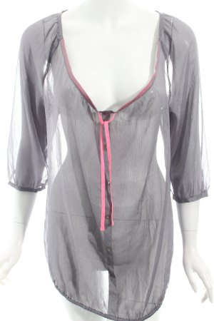 Esprit Transparenz-Bluse grau-pink Punktemuster Casual-Look