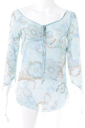 Esprit Transparenz-Bluse hellblau-beige florales Muster Transparenz-Optik