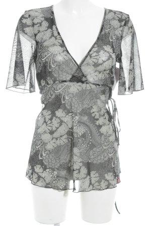 Esprit Transparante blouse zwart-grijs bloemen patroon casual uitstraling