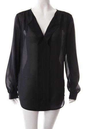 Esprit Transparenz-Bluse schwarz Textil-Applikation