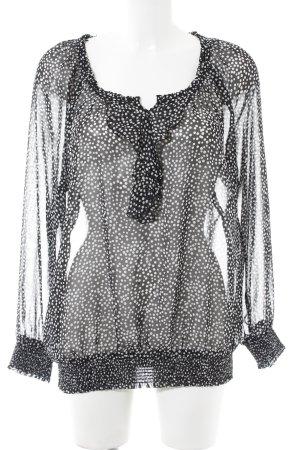 Esprit Transparenz-Bluse schwarz-weiß Punktemuster Casual-Look