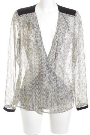 Esprit Transparenz-Bluse schwarz-wollweiß Aztekenmuster Elegant
