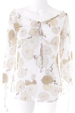 Esprit Transparenz-Bluse weiß-beige florales Muster Transparenz-Optik