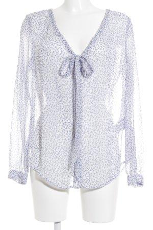 Esprit Transparenz-Bluse weiß-blau Punktemuster schlichter Stil