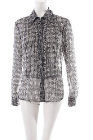 Esprit Transparenz-Bluse weiß-schwarz Aztekenmuster klassischer Stil