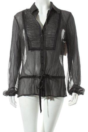 Esprit Transparenz-Bluse weiß-schwarz Punktemuster Casual-Look
