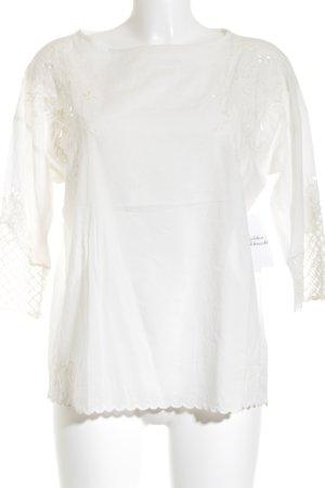 Esprit Transparenz-Bluse wollweiß Blumenmuster Romantik-Look