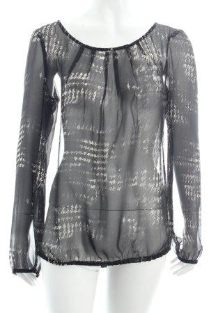 Esprit Transparenz-Bluse wollweiß-schwarz abstraktes Muster