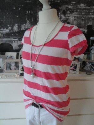 Esprit Camisa de rayas rojo frambuesa-rosa tejido mezclado