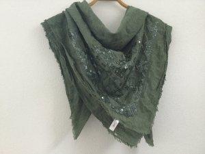 Esprit Tuch Schal Grün mit Pailetten