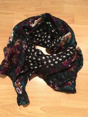 ESPRIT Tuch Schal schwarz weiß mit Blumen / Punkte