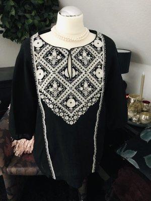 Esprit Tunika Folklore bestickt Schwarz-weiß Größe