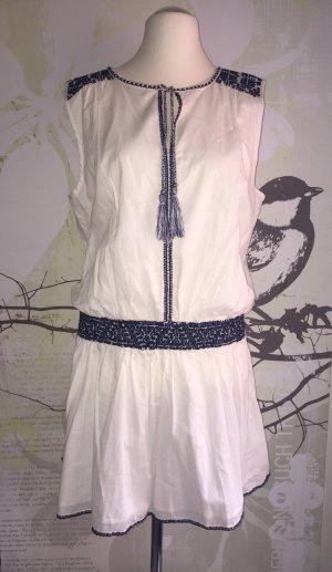 Esprit Tunika-Kleid, Ethno-Style, weiß-dunkelblau, Gr. 44 NEU