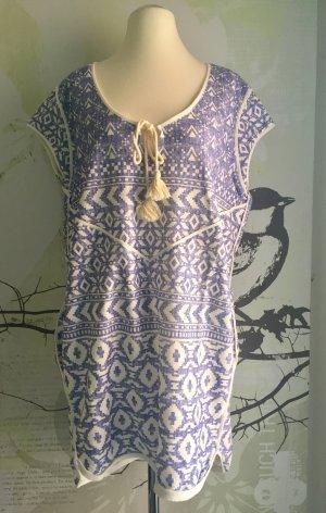 Esprit Tunika-Kleid Strandkleid, Blau-Weiß, Gr. L (Gr. 40) Neu