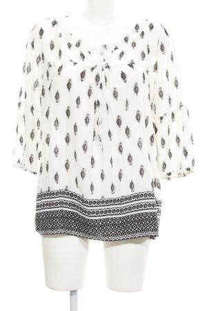 Esprit Tunikabluse wollweiß-schwarz abstraktes Muster Casual-Look