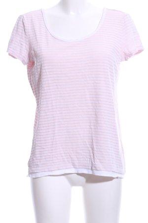 Esprit Maglia scollo a barca rosa-bianco motivo a righe stile casual