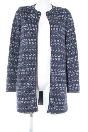 Esprit Übergangsjacke blau-weiß abstraktes Muster Business-Look