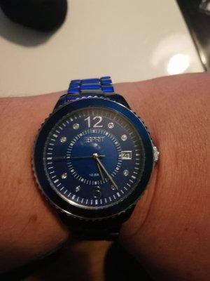 Esprit Uhr, blau metallic, neu&ungetragen