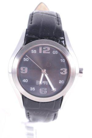 Esprit Uhr mit Lederarmband silberfarben-schwarz Reptil-Optik