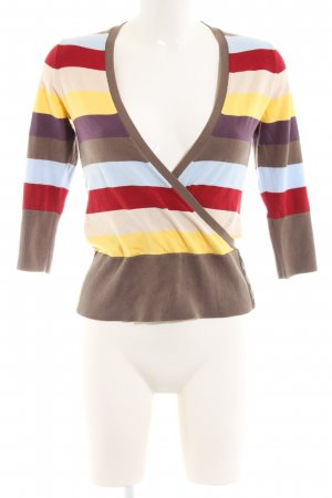 Esprit V-Ausschnitt-Pullover Streifenmuster Casual-Look