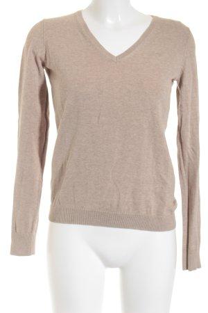 Esprit V-Ausschnitt-Pullover beige schlichter Stil
